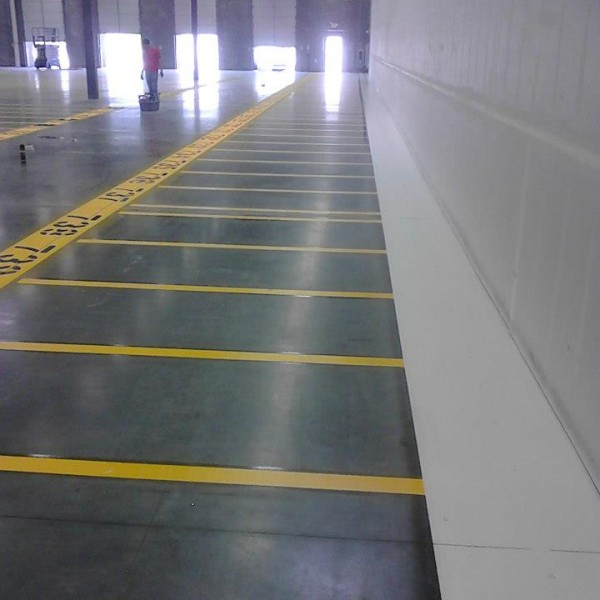 Warehouse striping done by Stripe-a-Zone.