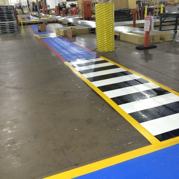 Warehouse striping by Stripe-A-Zone
